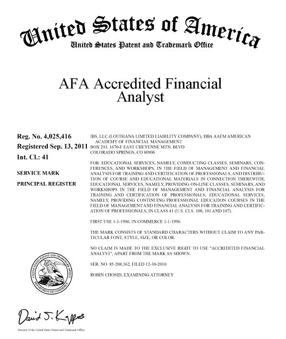 trademarks - academy finance management ® certified financial ...
